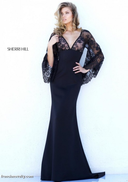 b14ff33e978687 Sherri Hill 50610 Deep V Neck Gown with Bell Sleeves: French Novelty
