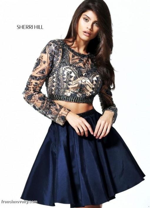 819c88b28f0 Sherri Hill 50693 Long Sleeve 2pc Short Party Dress  French Novelty