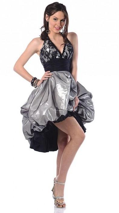 Johnathan Kayne Silver Metallic Lace Short Bubble Prom Dress 507 ...