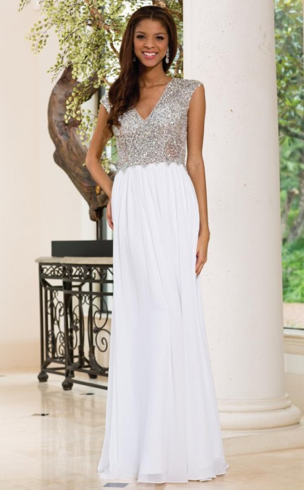 Sean Collection 50832 White Formal Gown: French Novelty