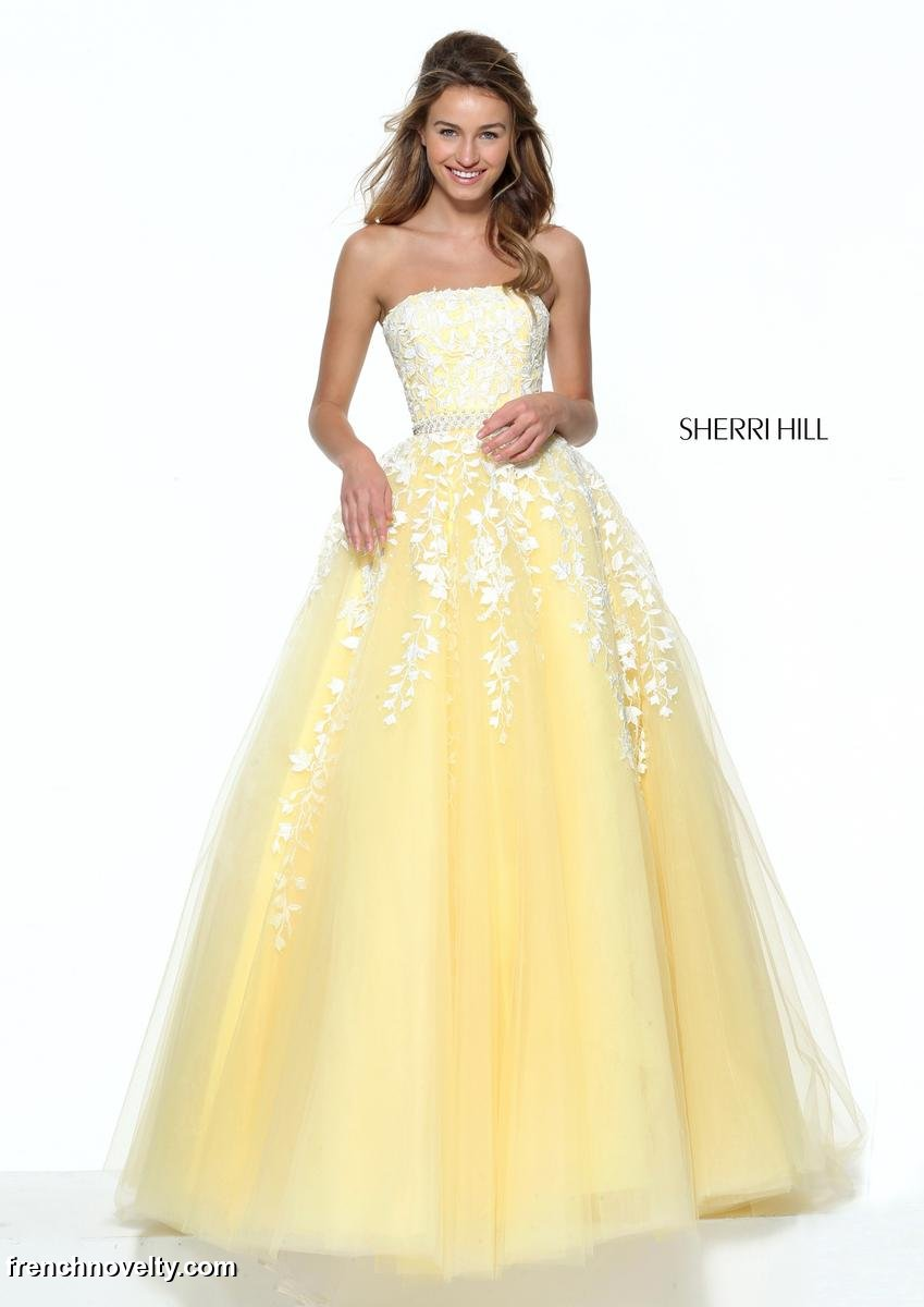 Sherri Hill 50864 Floral Lace Ball Gown French Novelty