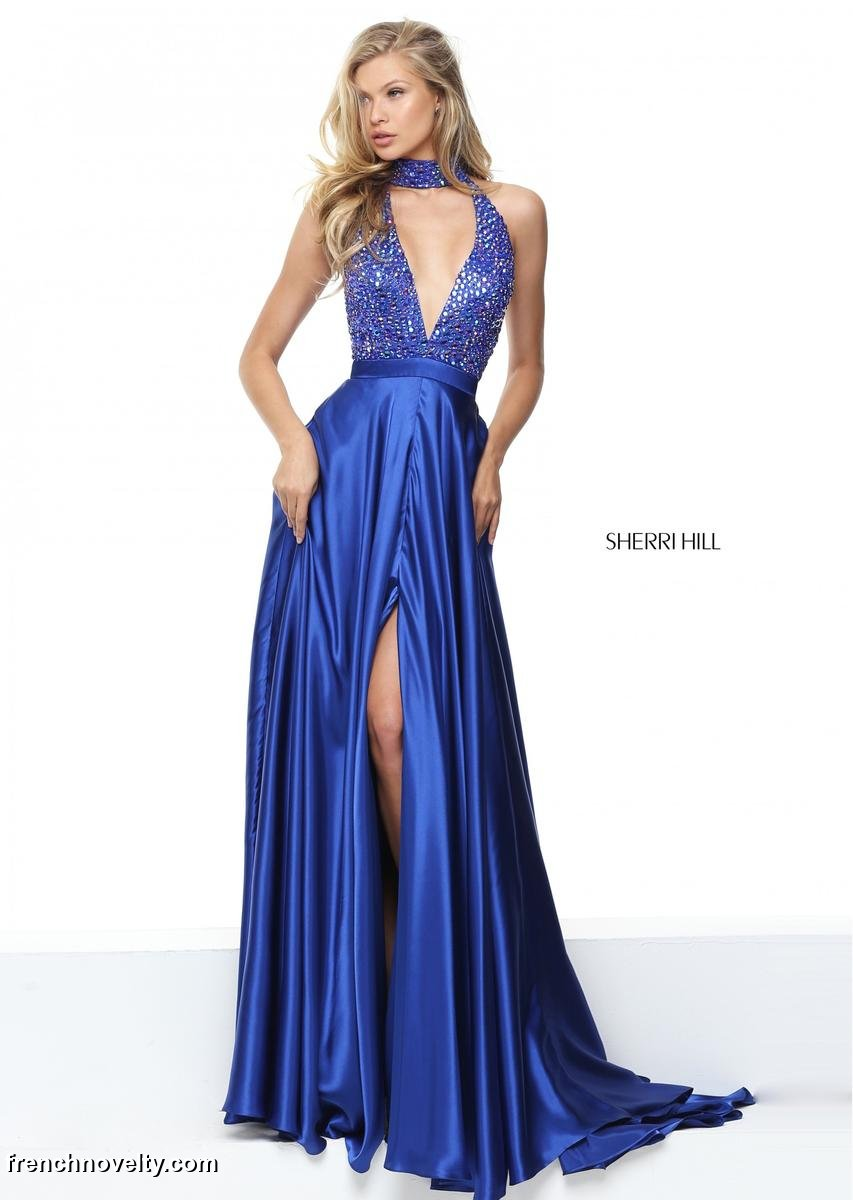 Sherri hill 50917 beaded halter collar prom dress french for Wedding dress sherri hill