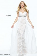 c6921b65b04 Size 2 Ivory-Nude Sherri Hill 50927 Off the Shoulder Lace Gown