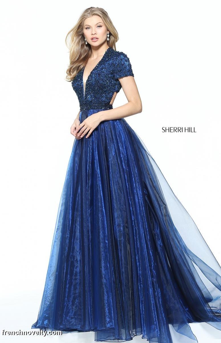 Sherri Hill 50976 Shimmering Short Sleeve Prom Dress: French Novelty