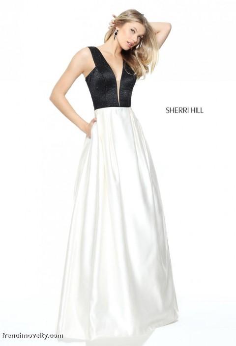 Sherri Hill 50991 sheer Plunging V Neck Prom Dress: French Novelty