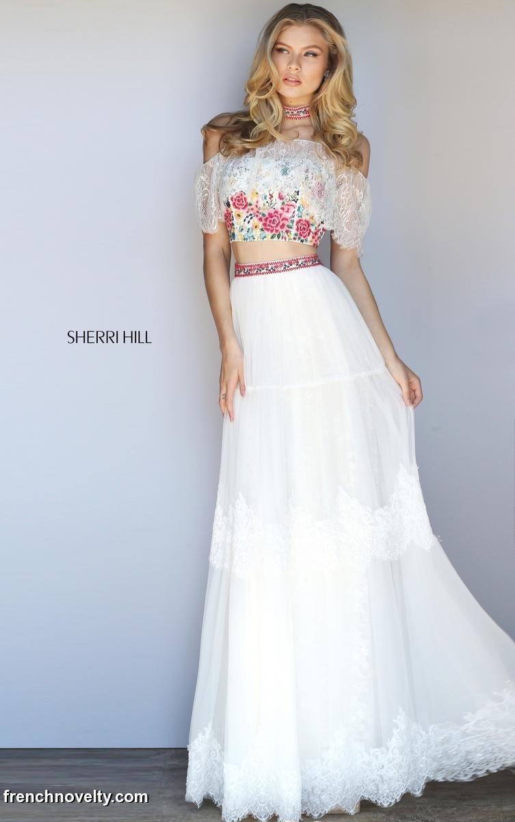 Sherri Hill 51022 Off The Shoulder Lace 2 Piece Prom Dress