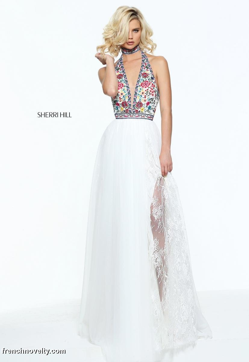 Sherri Hill 51023 Embroidered Floral Prom Dress French