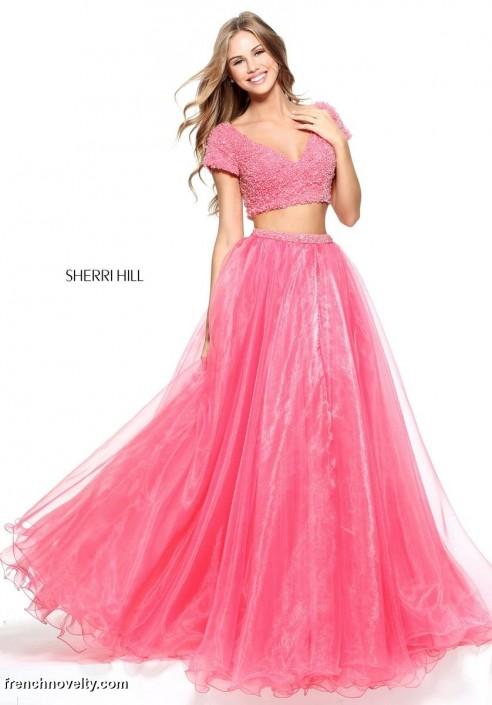 Sherri Hill 51039 Short sleeve 2 Piece Prom Dress: French Novelty