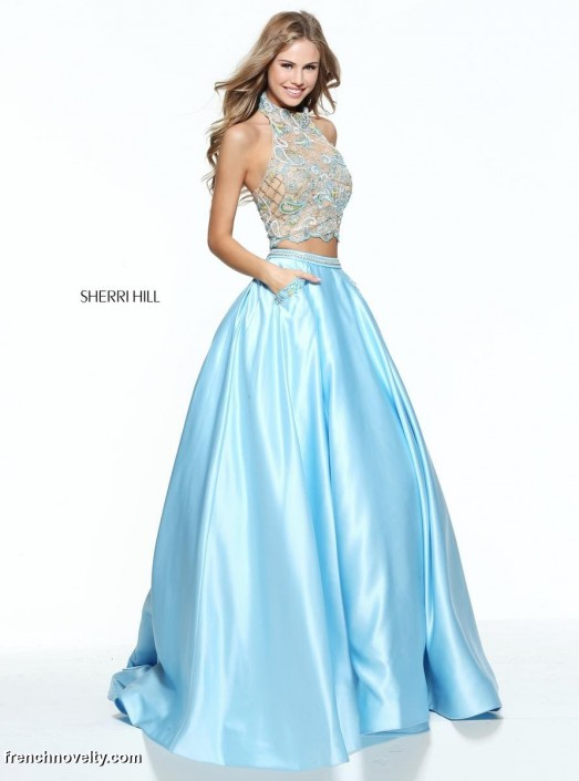 Sherri Hill 51041 Beaded Paisley Top 2 Piece Gown: French Novelty