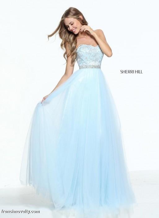 Size 14 Light Blue Sherri Hill 51045 Beaded Prom Dress: French Novelty