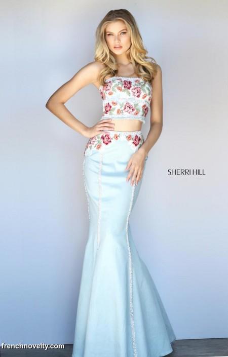 cab5e1494f3 Sherri Hill 51060 Denim 2 Piece Mermaid Prom Dress  French Novelty