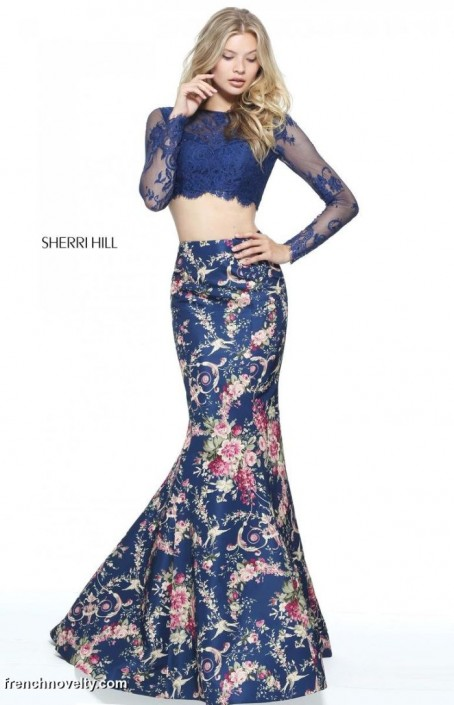 Sherri Hill 51064 Lace Long Sleeve 2pc Floral Prom Dress