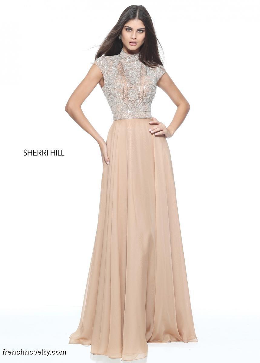 2d9d87ba681 size 0 blush sherri hill 51083 high neck beaded prom dress. FRENCHNOVELTY