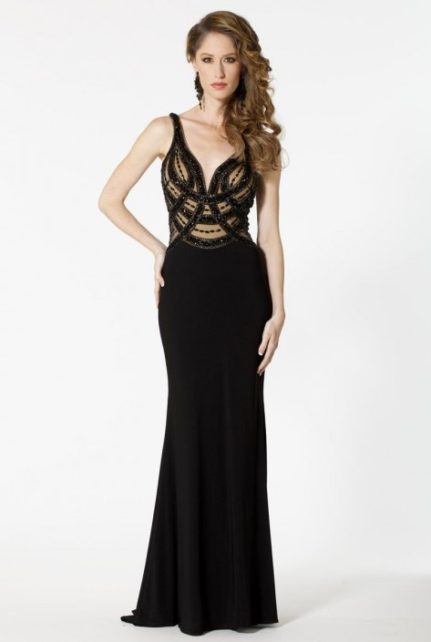 Sean Collection 51094 Beaded Illusion Prom Gown: French Novelty