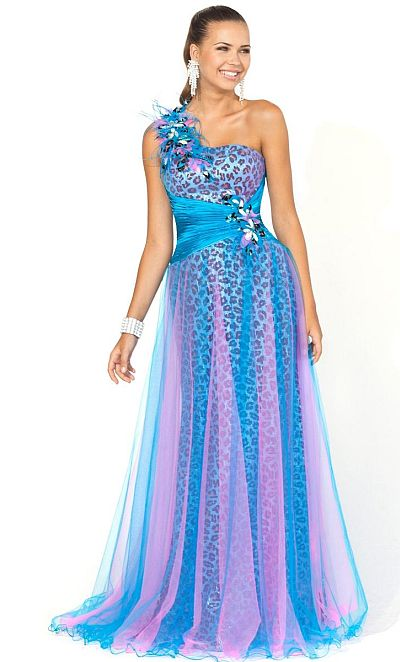 2012 Pink by Blush Prom Blue Purple Animal Print Ball Gown 5115 ...
