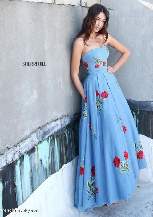 0817e3b9cba Sherri Hill 51154 Denim High Low Prom Dress  French Novelty