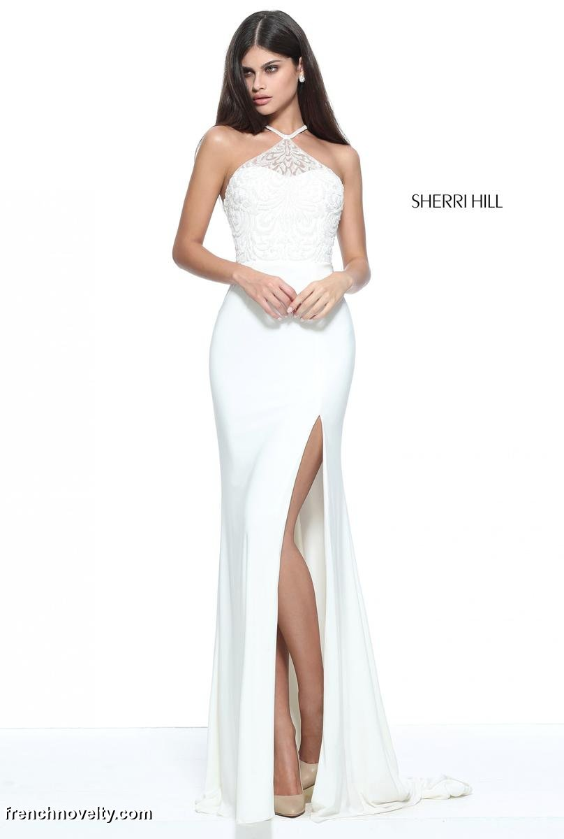 7aed55441c9 Sherri Hill 51159 Beaded Halter Prom Dress French Novelty