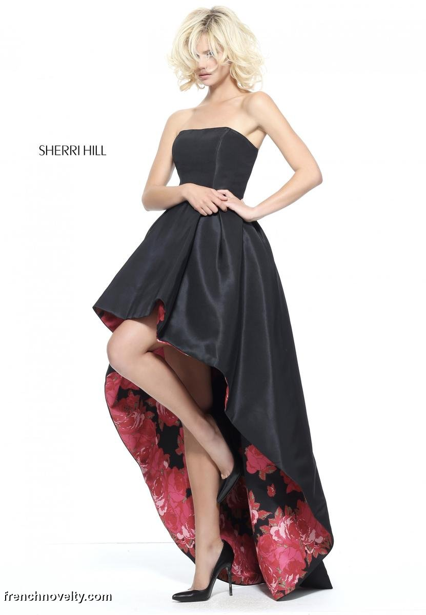 Sherri Hill 51160 Floral Lined High Low Prom Dress French