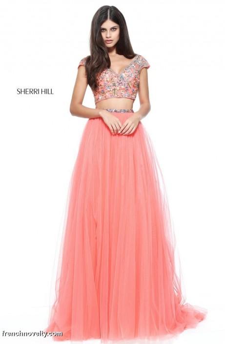 Sherri Hill 51166 Short Sleeve 2 Piece Prom Dress: French Novelty