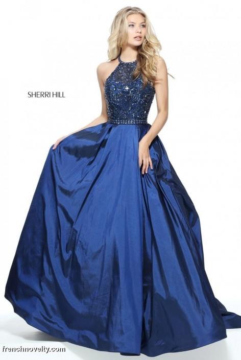 Sherri Hill 51242 Beaded Halter Ball Gown: French Novelty