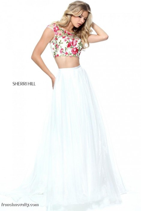 Sherri Hill 51243 Floral 2 Piece Prom Dress: French Novelty