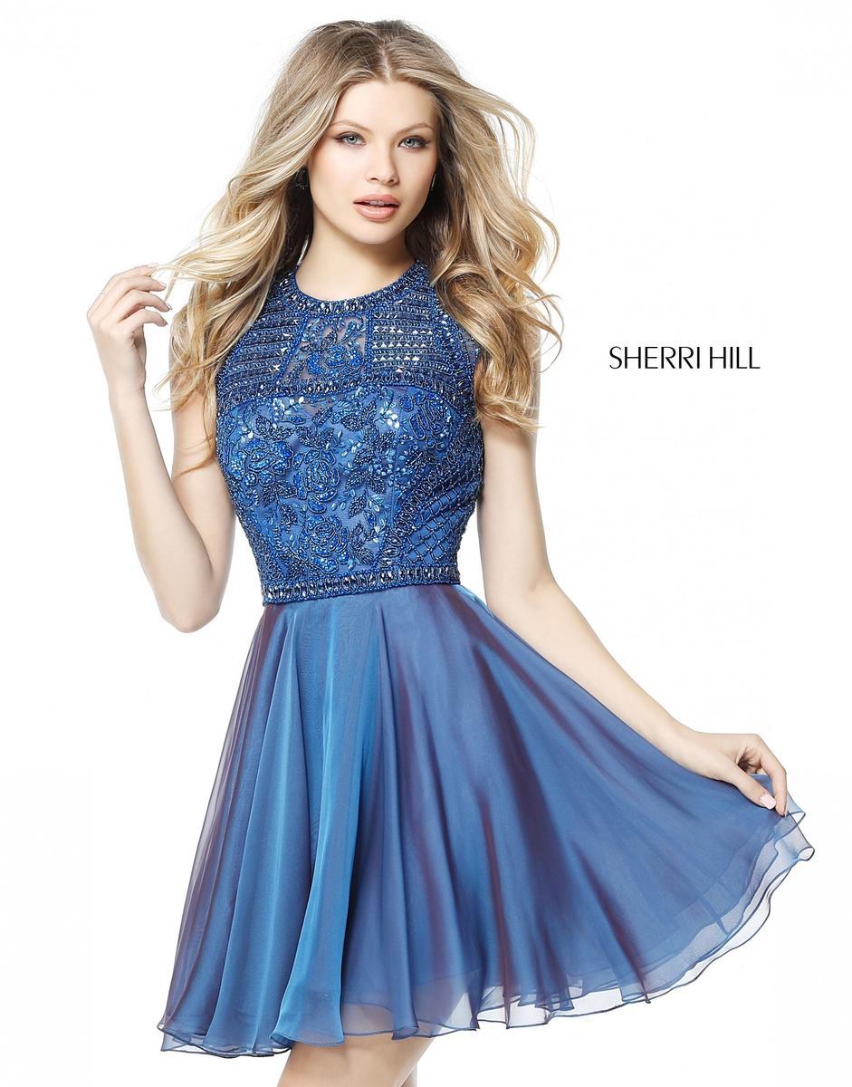 Sherri Hill 51293 Flirty Beaded Short Homecoming Dress: French Novelty