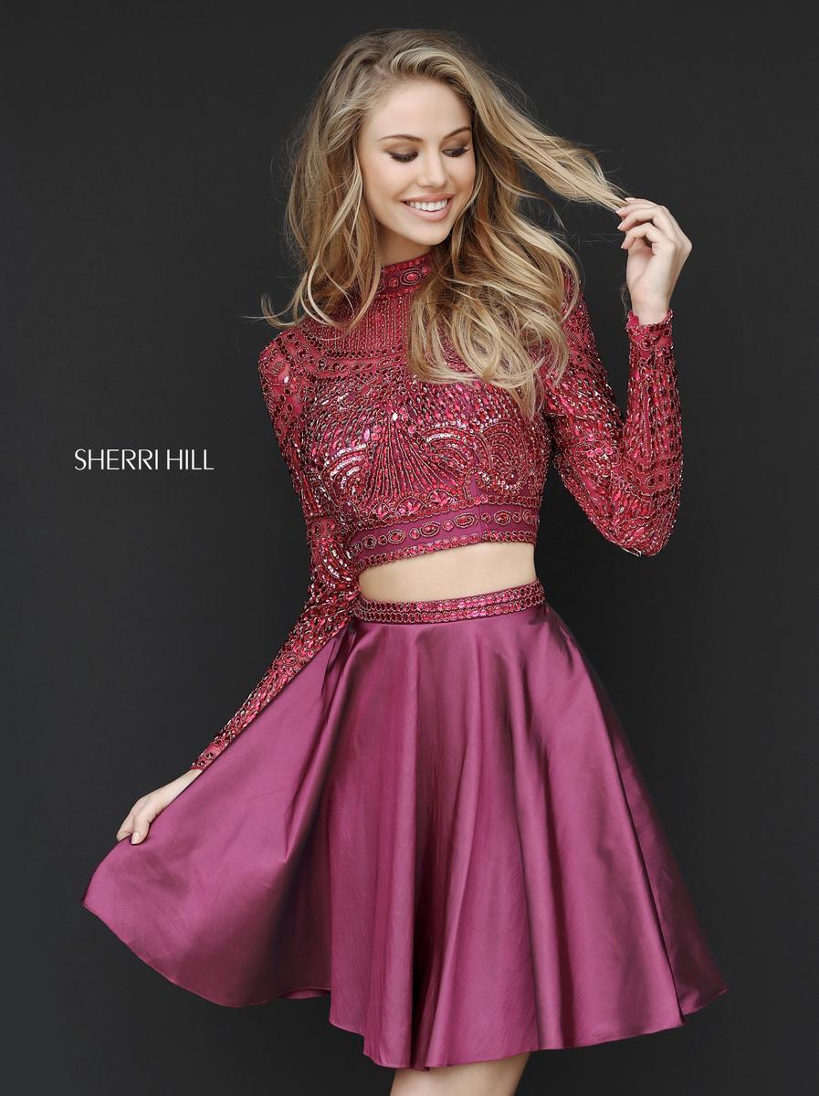 sherri hill 51301 long sleeve 2pc beaded cocktail dress