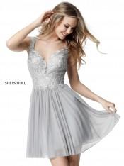 3d6876403d2 Size 2 Silver Sherri Hill 51312 Sheer Lace Short Party Dress