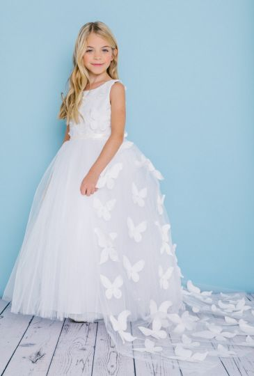 Rosebud 5134 Flower Girls Dress With Removable Train French Novelty