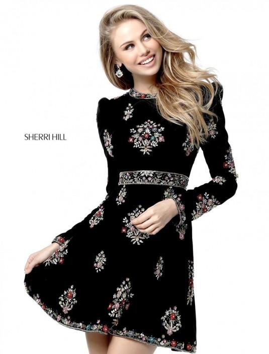 15848418a8a6 Sherri Hill 51342 Long Sleeve Short Homecoming Dress: French Novelty