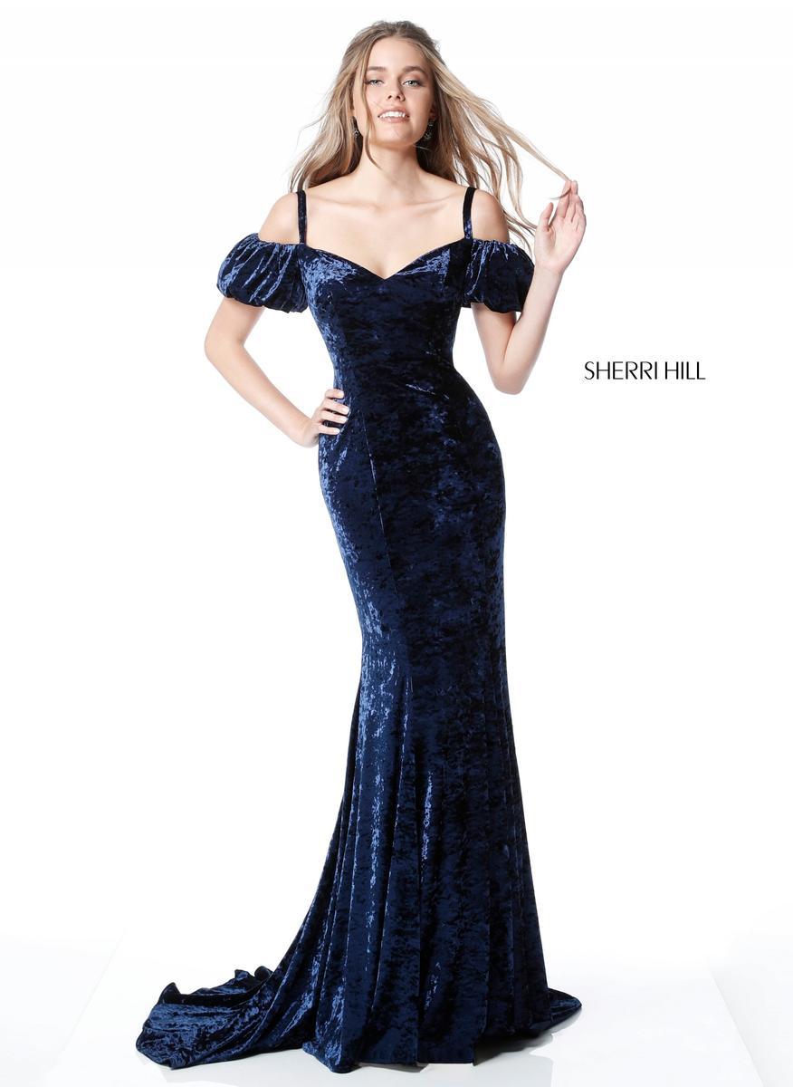 cf4fad9955a5 sherri hill 51406 off shoulder velvet homecoming gown. FRENCHNOVELTY