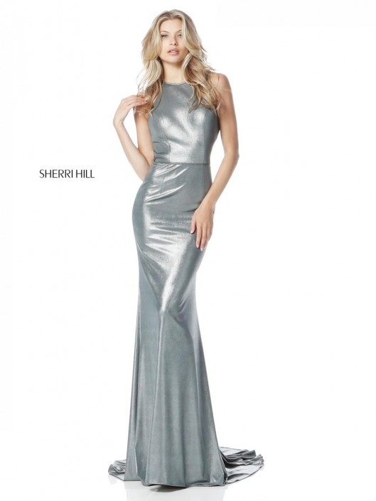 Sherri Hill 51428 Simple Metallic Evening Gown: French Novelty