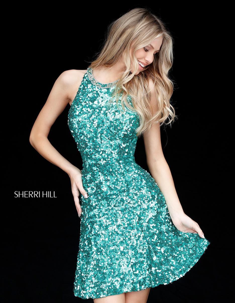sherri hill 51431 strappy back sequin short dress french