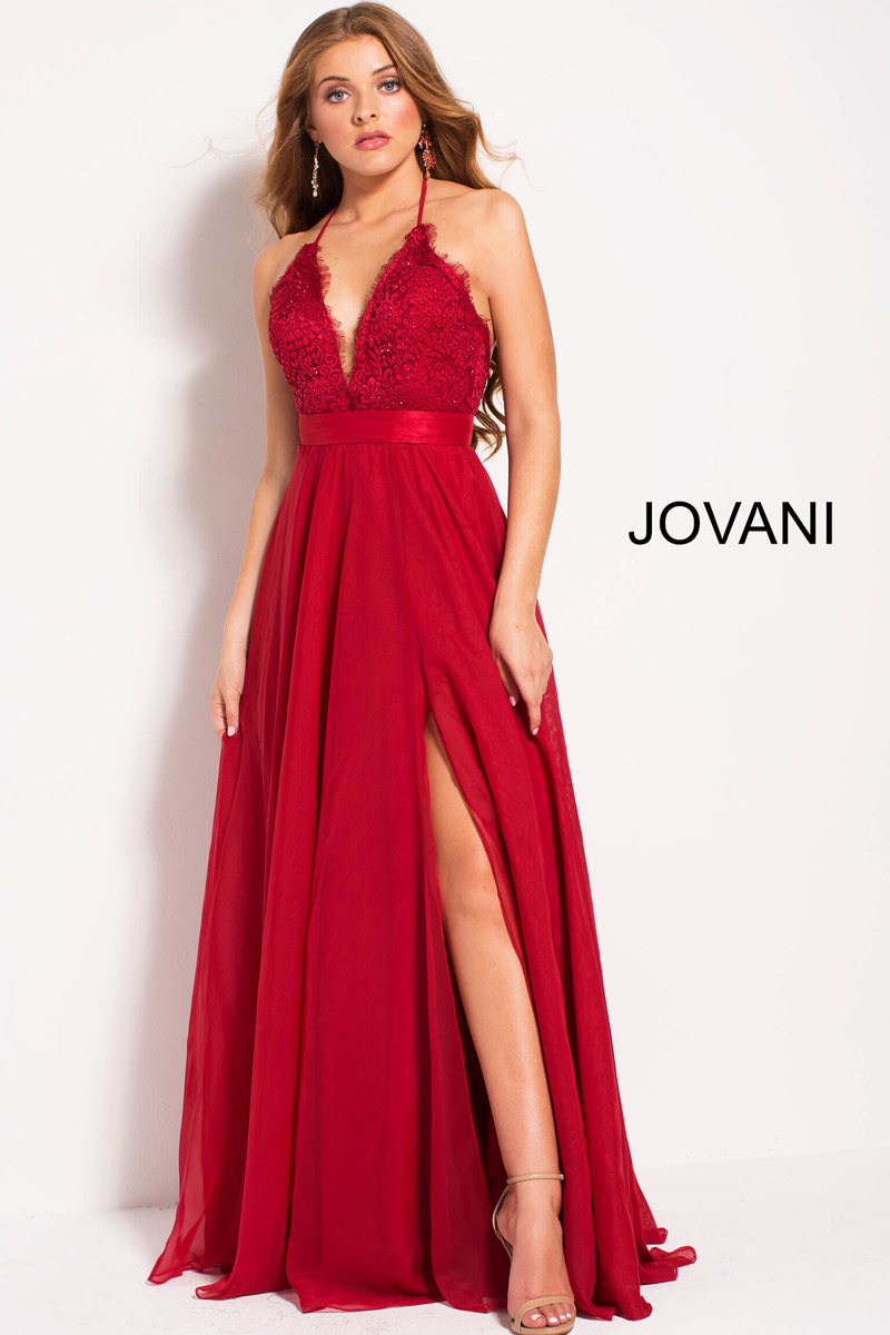 Jovani 51499 Flowing Chiffon Halter Gown French Novelty