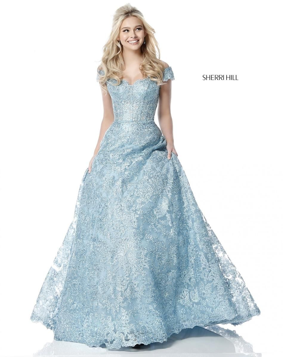 Sherri Hill 51573 Off Shoulder Lace Prom Dress: French Novelty