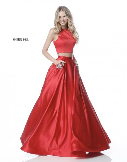 Size 0 Red Sherri Hill 51587 Beaded Pockets