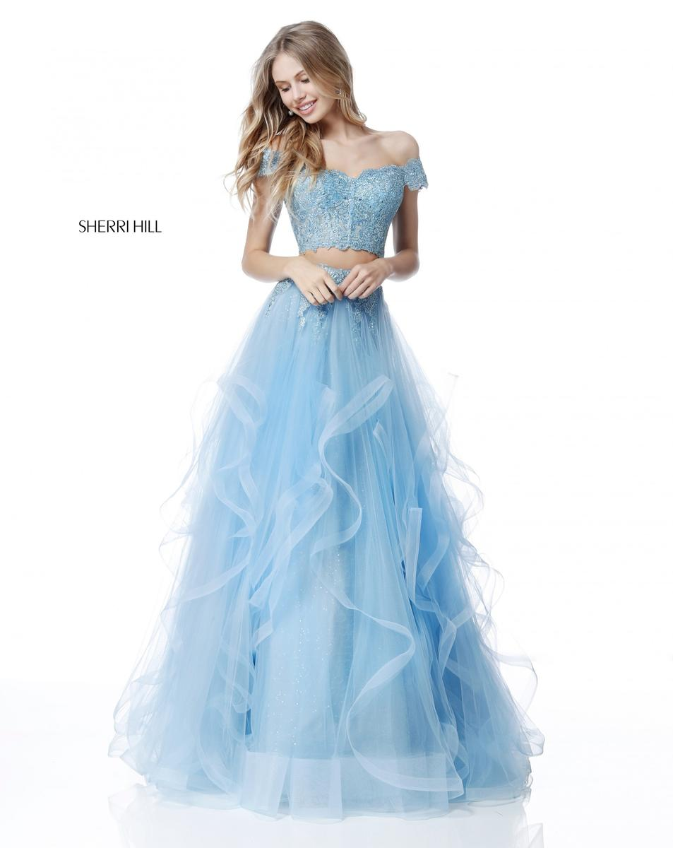 Sherri Hill 51617 Ruffle 2 Piece Off Shoulder Gown: French Novelty