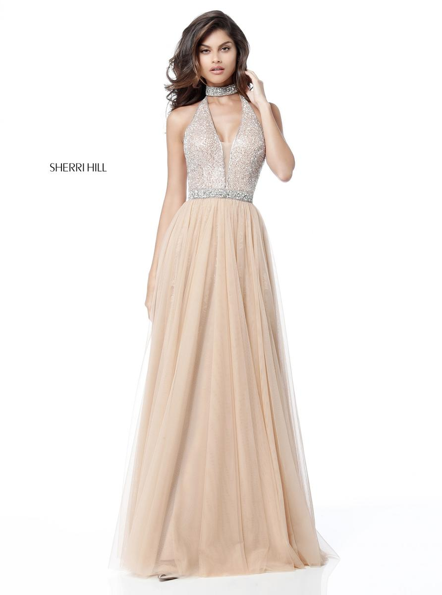 Sherri Hill 51637 Beaded Choker Halter Prom Dress French