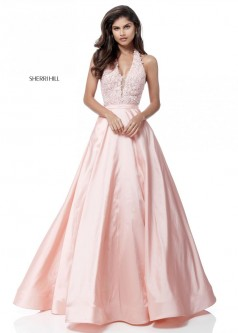 Sherri Hill 51643 Halter Gown With Sheer Lace Top
