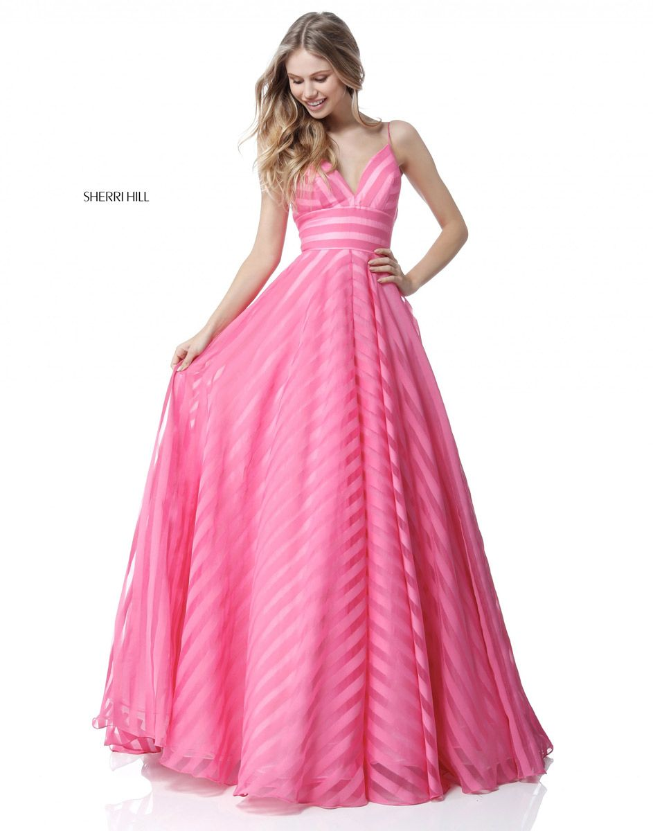 Sherri Hill 51644 Sheer Stripe Prom Dress: French Novelty
