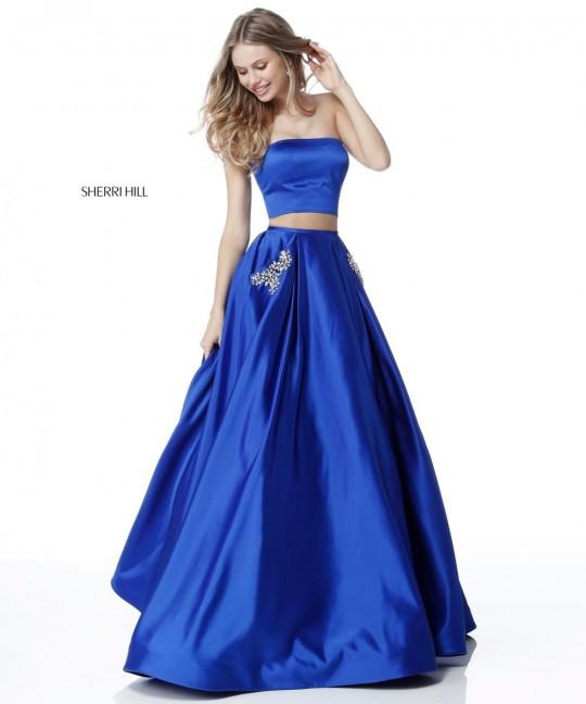 Sherri Hill 51649 Beaded Pockets 2 Piece Prom Dress French Novelty