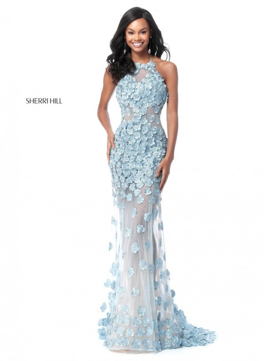 Sherri Hill 51660 Sheer Prom Dress with Flowers: French Novelty