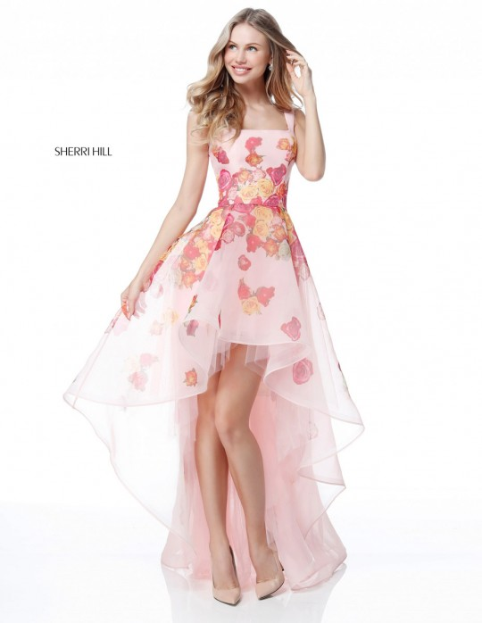 Sherri Hill 51684 Sheer Floral High Low Prom Dress: French Novelty