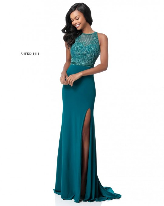 Size 14 Emerald Sherri Hill 51686 Prom Dress With High Slit French