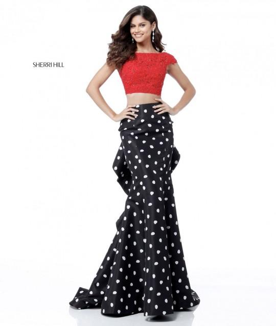 e1e5a803656 Sherri Hill 51717 Polka Dot 2pc Mermaid Prom Dress  French Novelty