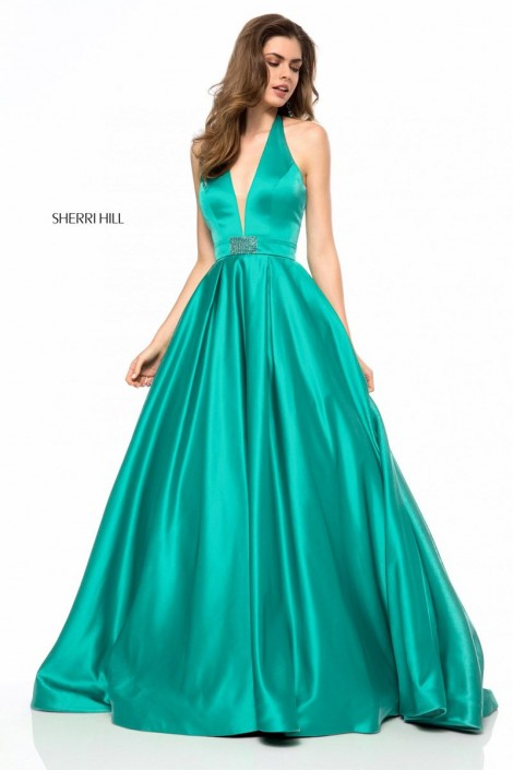Size 22 Emerald Sherri Hill 51729 Deep V Halter Ball Gown: French ...