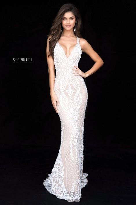 Sherri Hill 51750 Beaded Strappy Back Prom Dress: French Novelty