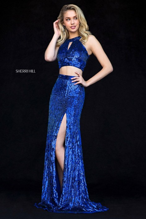 Sherri Hill 51756 Sequin 2 Piece Prom Dress: French Novelty