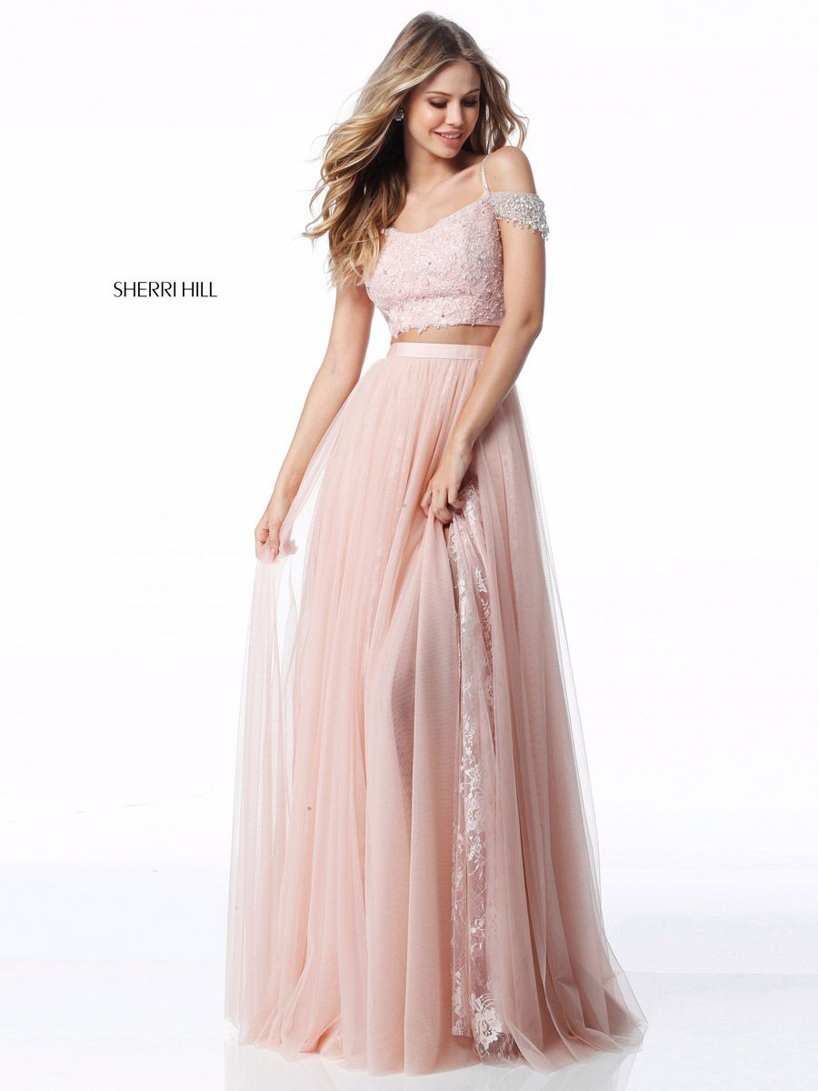 Sherri Hill 51771 Off Shoulder 2 Piece Gown with Lace