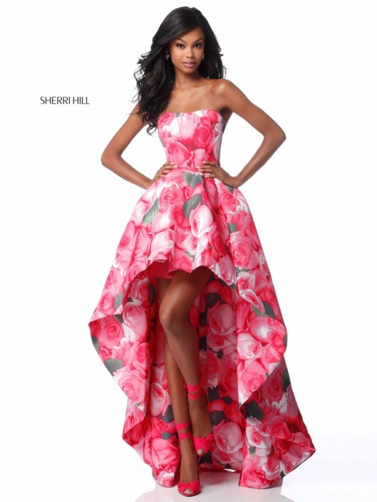 Sherri Hill 51791 High Low Floral Prom Dress: French Novelty